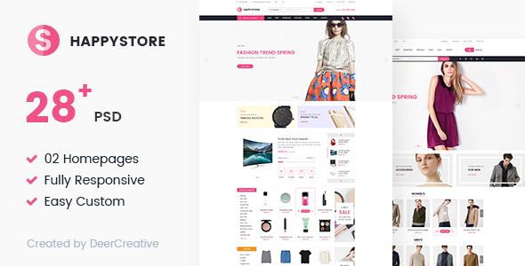 HappyStore   Multi-Purpose Responsive Ecommerce PSD Template