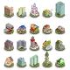 Isometric Buildings City Icons