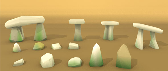 Lowpoly stones and dolmens - 3DOcean Item for Sale