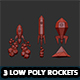 Set of 3 Low Poly Rockets