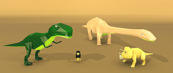 low poly dinosaurs and man - 3DOcean Item for Sale