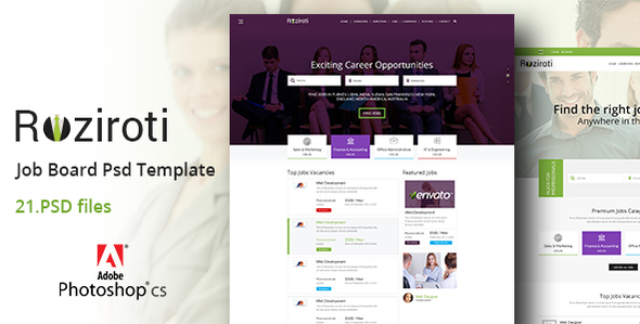 Rozi Roti Job Board PSD Template