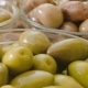 Green Olives in Glass Bowls