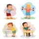 Morning Clip Art Illustrations with Young Children