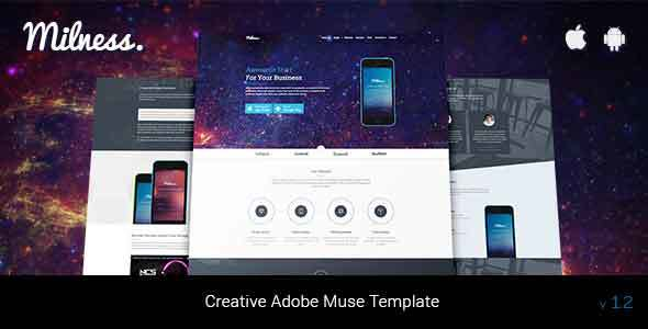 Milness – Showcase Mobile App Adobe Muse Template