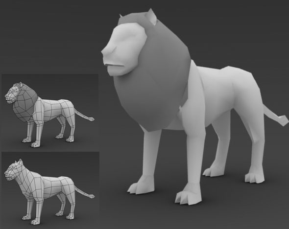 Low Poly Lion - 3DOcean Item for Sale