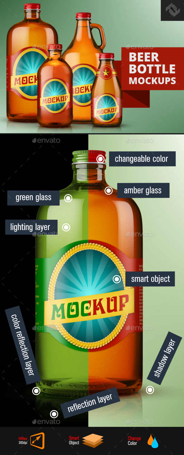 4 Screw Cap Beer Amber Green Glass Bottle Mockups