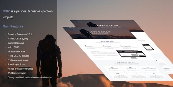 zero is a personal & business portfolio template (Site Templates) images