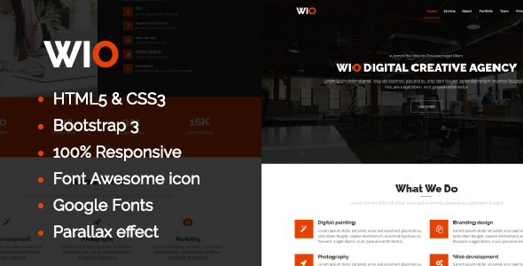 Wio One Page HTML Template