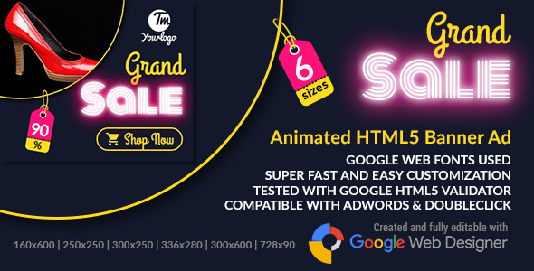 Download Grand Sale - Animated HTML5 Banners Promoting Sales Footwear and Clothing