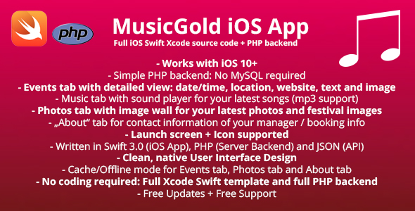 MusicGold iOS App Template + full PHP Server backend
