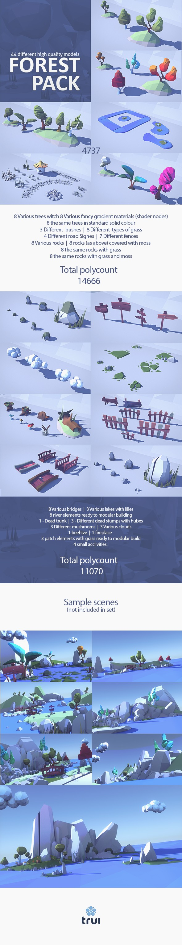 Cartoon Low Poly Forest Set - 3DOcean Item for Sale