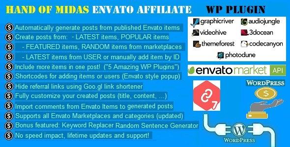 Hand of Midas – Envato Affiliate Money Generator Plugin