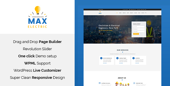 Фото Template Wordpress  Max Electric - Electrician WordPress Theme — 00 Max Museum Preview.  large preview