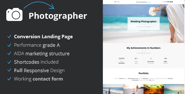 Photographer - Conversion Landing Page For Photographers