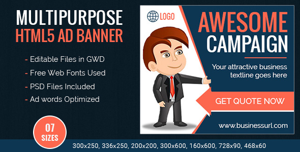 Download GWD | Multipurpose HTML5 Ad Banner Templates - 7 Sizes