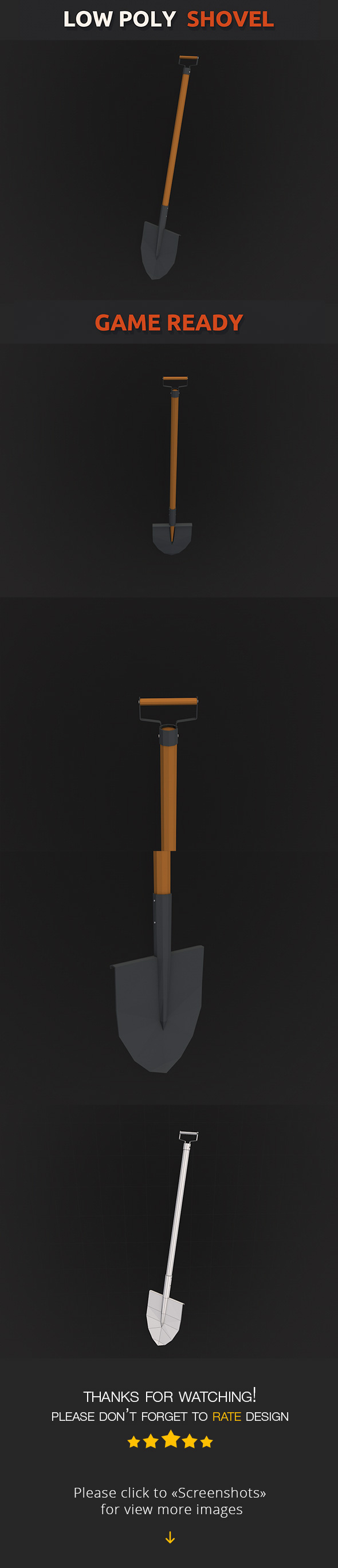 Low Poly Shovel - 3DOcean Item for Sale