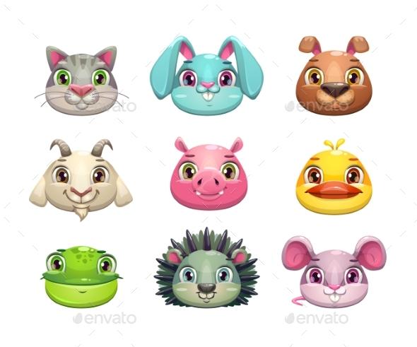 Graphicriver Cartoon Animal Face Icons Set 19388542