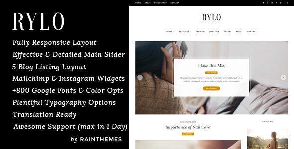 Rylo – WordPress Weblog Theme (Private)