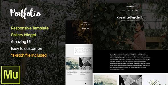 Portfolio Adobe Muse CC Responsive Template + Gallery Widget (Inventive)