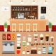 Download Vector Coffee Bar with Beverages on the Table