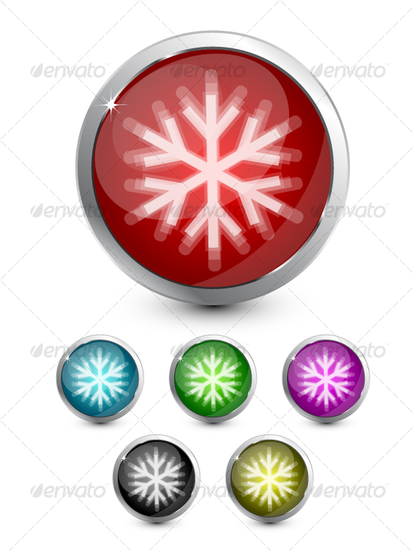 GraphicRiver Snowflake button 73671