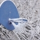 Snow Covered Basketball Playground. Snow Covered Basketball Hoop