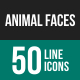 Animal Faces Line Icons