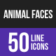 Animal Faces Line Inverted Icons