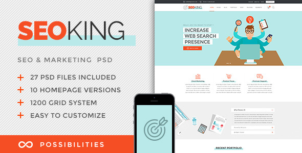 SEO King - Marketing, SEO & Digital Agency PSD Template