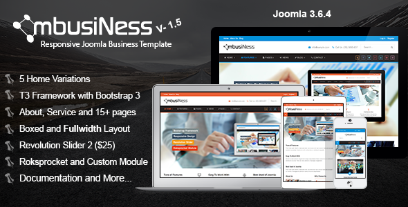 theme preview.  large preview - MbusiNess - Responsive Joomla Business Template