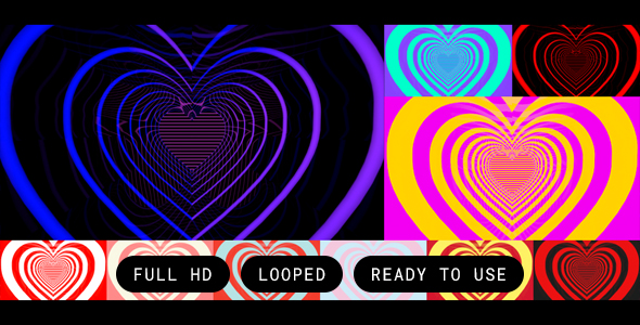 VideoHive 10 Looped Lined Heart Backgrounds 19394885
