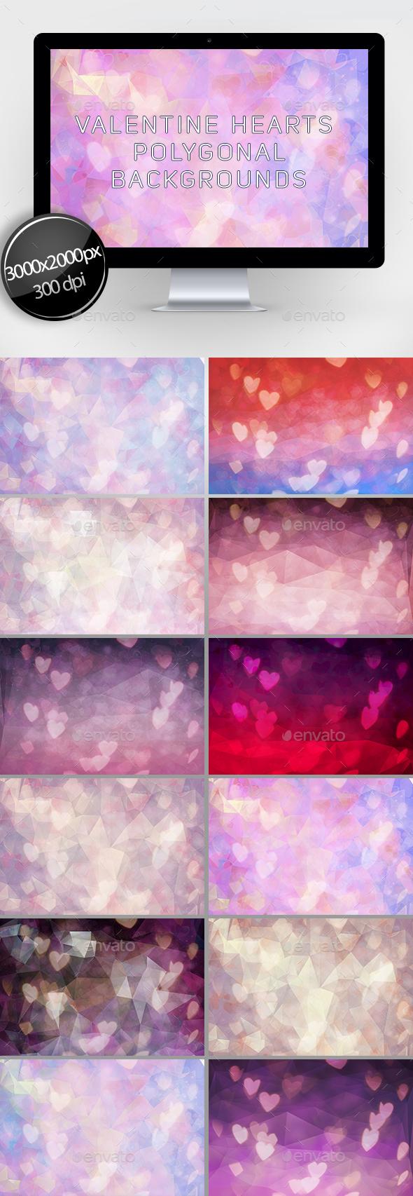 Valentine Hearts Polygonal Backgrounds