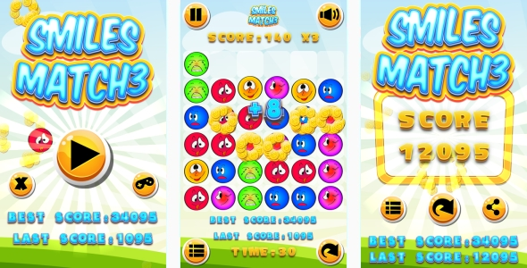 Smiles Match3 – HTML5 Game + Android + AdMob (Capx) (Games)