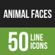 Animal Faces Line Green & Black Icons