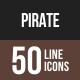 Pirate Line Multicolor Icons