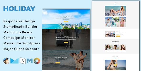 Vacation – Responsive E-mail Template With Stamp Prepared Builder Access (E-mail Templates)