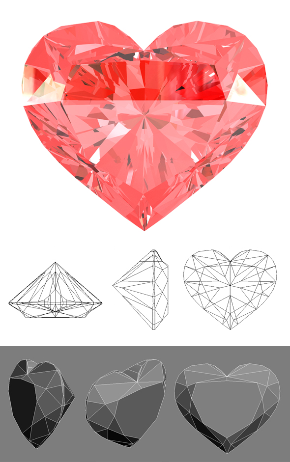 Red Heart Gemstone - 3DOcean Item for Sale