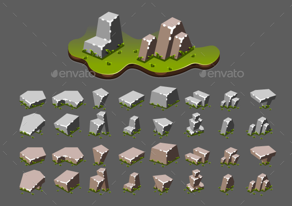 Graphicriver Isometric Stones with Grass for Creating Video Games 19401006