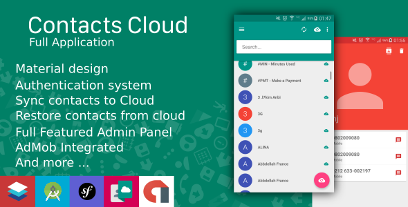 Contacts Cloud With Material design and AdMob