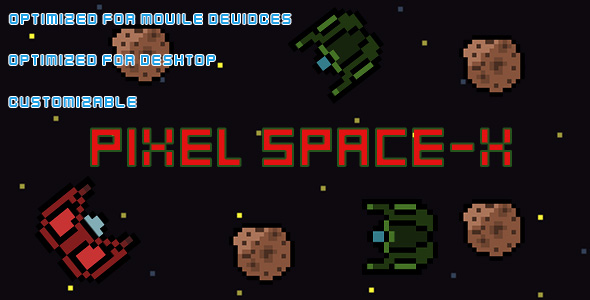 Pixel Space-X(HTML5 Game + Construct 2 CAPX)