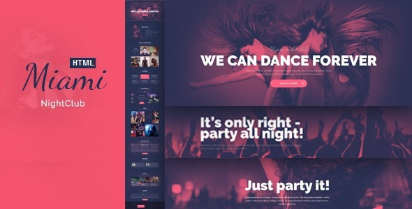 Miami – Evening Club Responsive HTML Template (Nightlife)
