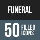Funeral Flat Round Corner Icons