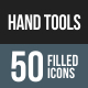 Hand Tools Flat Round Corner Icons