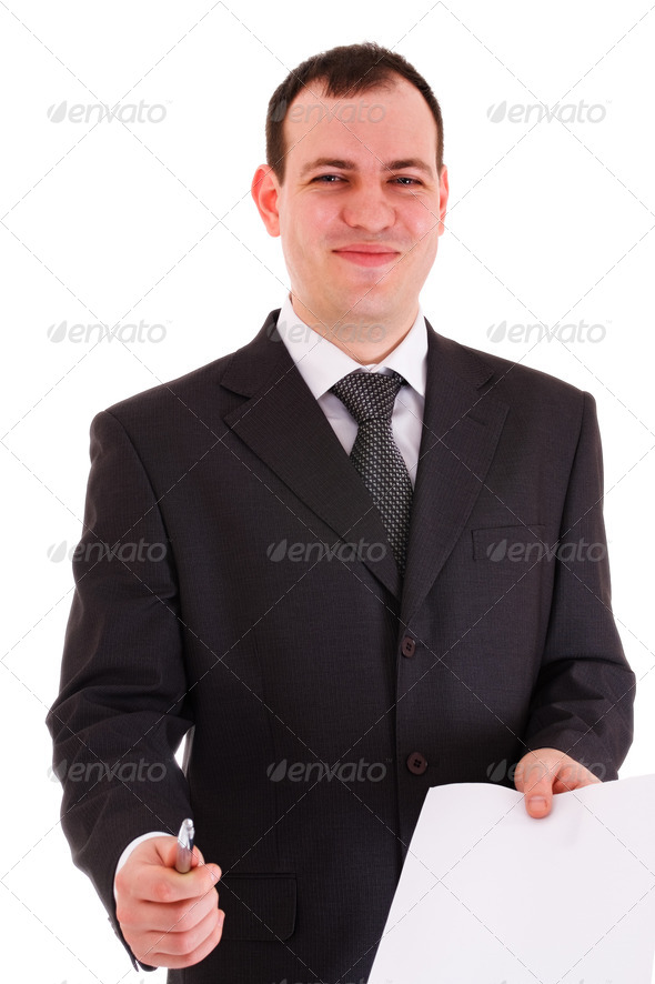 smiling businessman offer sign paper - Stock Photo - Images