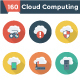 Cloud Computing Flat Circle Shadow Icons