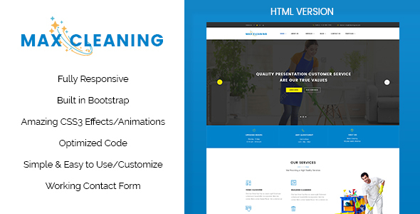 Max Clean – Cleaning Business HTML Template (Business) Download
