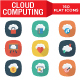 Cloud Computing Flat Square Shadow Icons