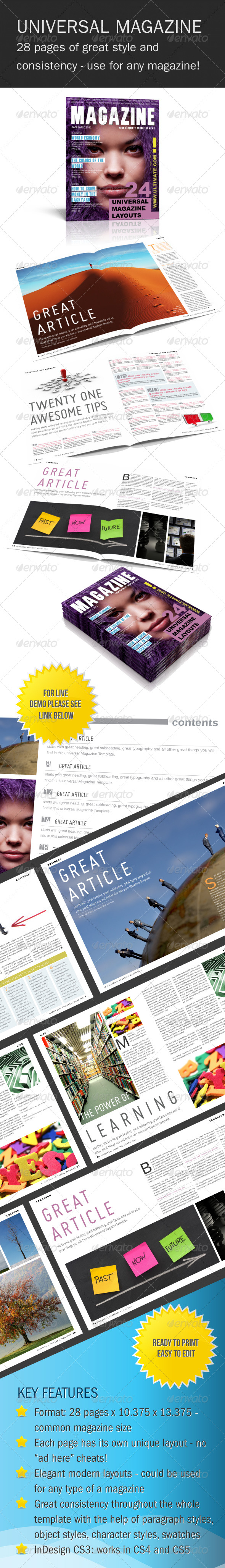 GraphicRiver Universal InDesign Magazine Template 224035