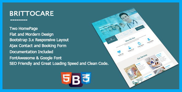 BrittoCare – Responsive Healthcare and HealthCare Template (Overall health &amp Beauty)